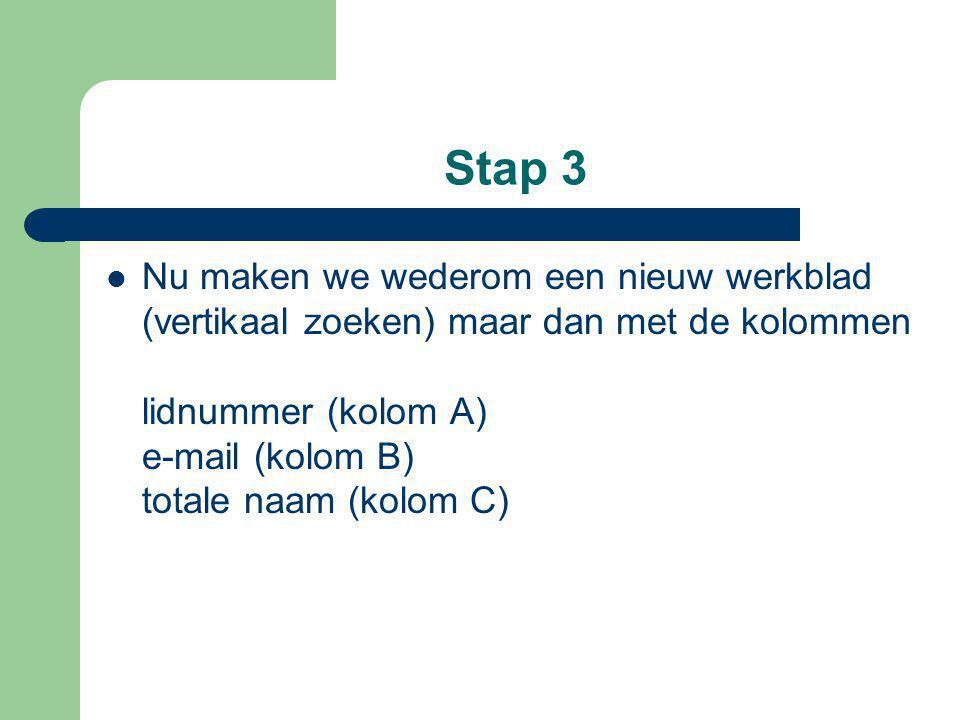 Stap 3 Nu maken we wederom een nieuw werkblad (vertikaal zoeken) maar dan met de kolommen lidnummer (kolom A) e-mail (kolom B) totale naam (kolom C)
