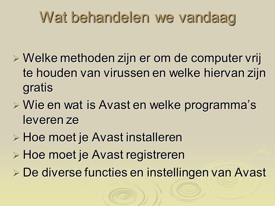WELKE METHODEN VAN VIRUSSCANNERS ZIJN ER  NIET INSTALLEREN OP COMPUTER HouseCall (http://housecall.trendmicro.com/emea/) HouseCall (http://housecall.trendmicro.com/emea/) PCPitstop (http://www.pcpitstop.com/antivirus/default.asp) PCPitstop (http://www.pcpitstop.com/antivirus/default.asp)  INSTALLEREN OP COMPUTER AVG AVG ( http://www.gratissoftwaresite.nl/downloads/AVG+Anti-Virus+Free+anti-virus) AntiVir AntiVir ( http://www.free-av.de/) PCTools PCTools(http://www.pctools.com/free-antivirus/) Avast Avast (http://www.avast.nl/) of http://www.alwil.nl http://www.avast.nl/http://www.alwil.nlhttp://www.avast.nl/http://www.alwil.nl