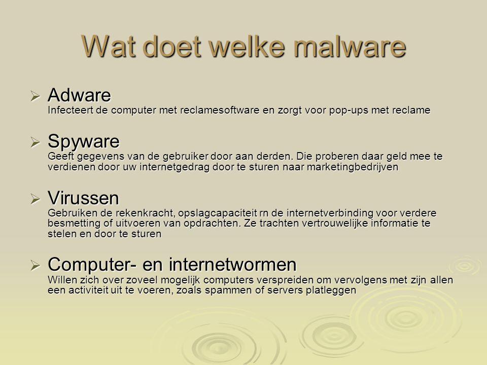 Rootkits Programma's die een hacker toegang geeft tot een computer  Trojaanse paarden doen zich voor als iets anders en richten schade aan of functioneren als spyware  Phishing Bestaat uit het oplichten van mensen door ze te lokken naar een valse (bank)website, die een kopie is van de echte website en ze daar — nietsvermoedend — te laten inloggen met hun inlognaam en wachtwoord of hun creditcardnummer