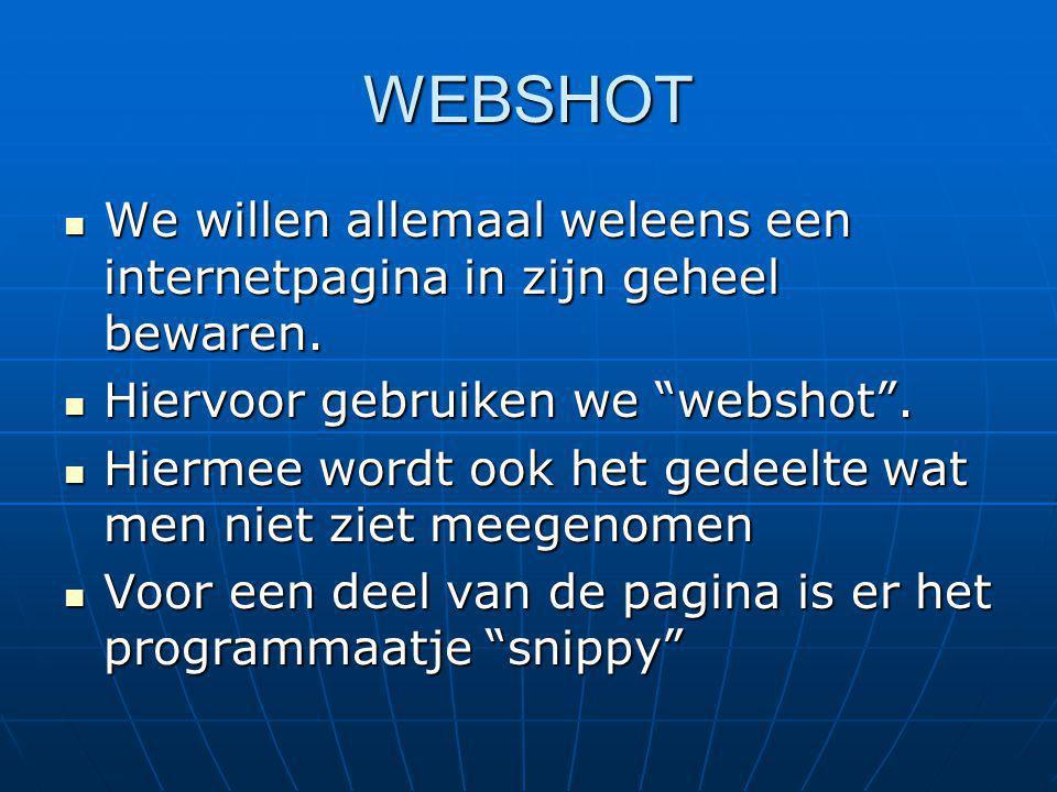 WEBSHOT We willen allemaal weleens een internetpagina in zijn geheel bewaren.