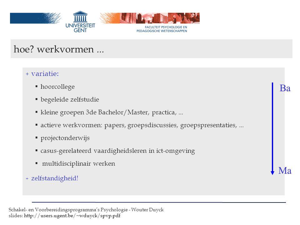 Schakel- en Voorbereidingsprogramma's Psychologie - Wouter Duyck slides: http://users.ugent.be/~wduyck/spvp.pdf + variatie:  hoorcollege  begeleide zelfstudie  kleine groepen 3de Bachelor/Master, practica,...