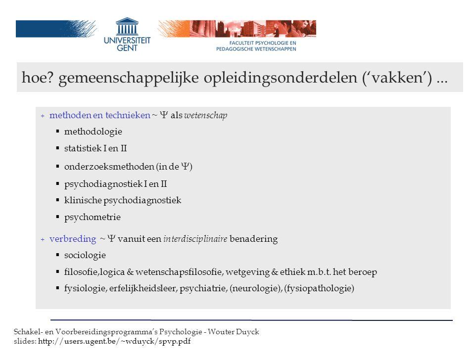Schakel- en Voorbereidingsprogramma's Psychologie - Wouter Duyck slides: http://users.ugent.be/~wduyck/spvp.pdf dank voor uw aandacht...