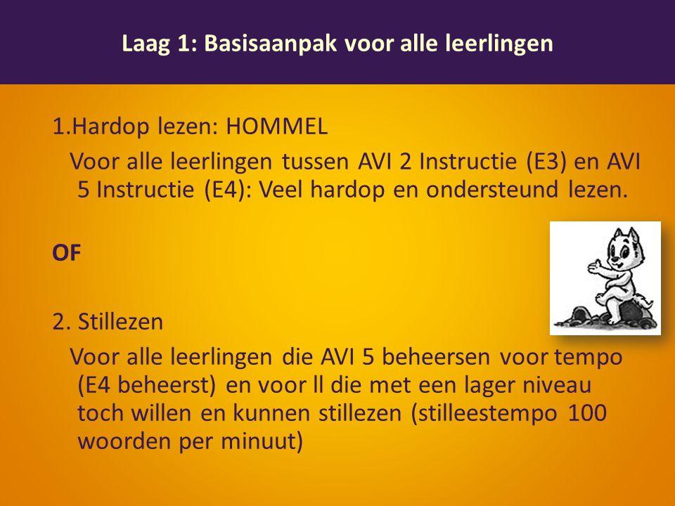 1.Hardop lezen: HOMMEL Voor alle leerlingen tussen AVI 2 Instructie (E3) en AVI 5 Instructie (E4): Veel hardop en ondersteund lezen.