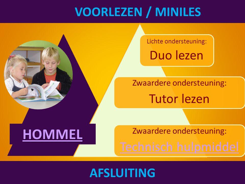 VOORLEZEN / MINILES AFSLUITING Lichte ondersteuning: Duo lezen Zwaardere ondersteuning: Tutor lezen Zwaardere ondersteuning: Technisch hulpmiddel HOMMEL