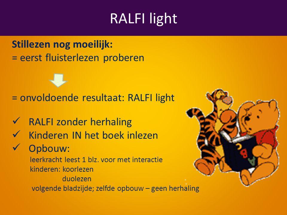 RALFI light Stillezen nog moeilijk: = eerst fluisterlezen proberen = onvoldoende resultaat: RALFI light RALFI zonder herhaling Kinderen IN het boek inlezen Opbouw: leerkracht leest 1 blz.