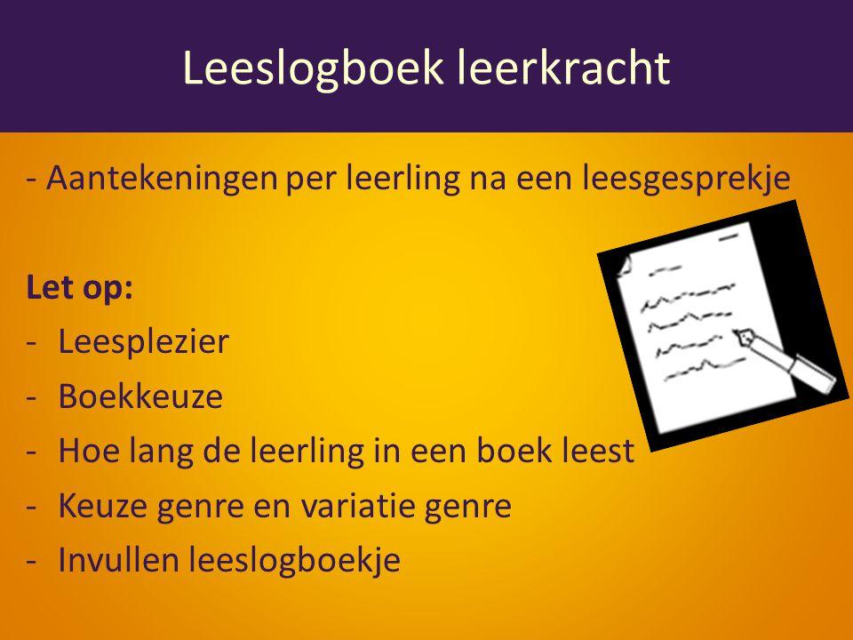 Leeslogboek leerkracht - Aantekeningen per leerling na een leesgesprekje Let op: -Leesplezier -Boekkeuze -Hoe lang de leerling in een boek leest -Keuze genre en variatie genre -Invullen leeslogboekje