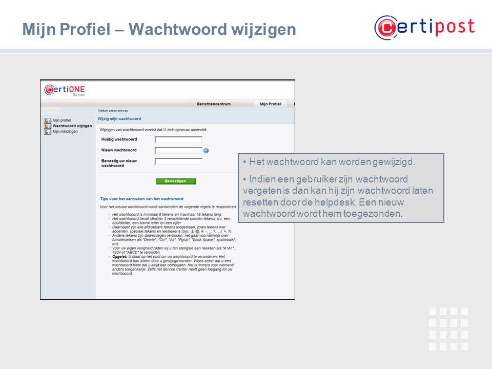 12 Mijn Profiel – Wachtwoord wijzigen Het wachtwoord kan worden gewijzigd. Indien een gebruiker zijn wachtwoord vergeten is dan kan hij zijn wachtwoor