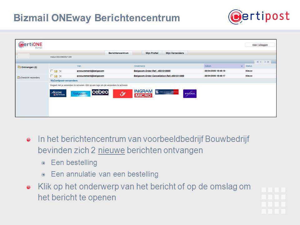 4 Bizmail ONEway Berichtencentrum In het berichtencentrum van voorbeeldbedrijf Bouwbedrijf bevinden zich 2 nieuwe berichten ontvangen Een bestelling E