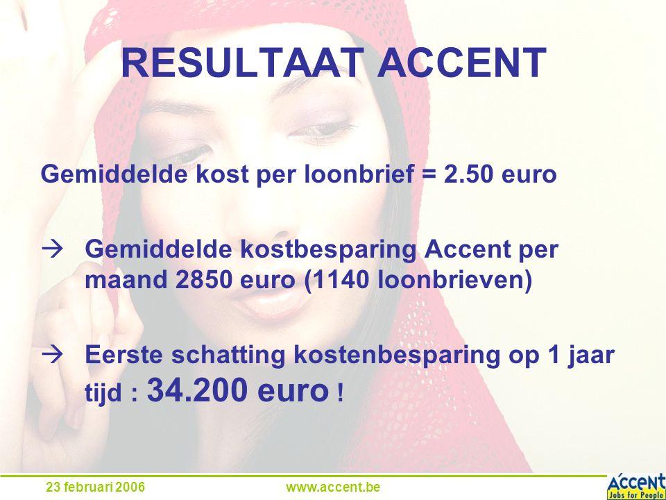 23 februari 2006www.accent.be RESULTAAT ACCENT Gemiddelde kost per loonbrief = 2.50 euro  Gemiddelde kostbesparing Accent per maand 2850 euro (1140 loonbrieven)  Eerste schatting kostenbesparing op 1 jaar tijd : 34.200 euro !