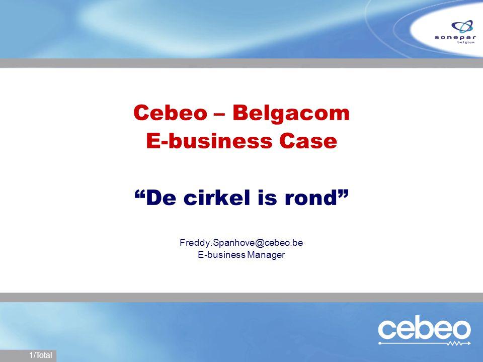 12/Total Belgacom E-business Nieuwe manier >Elektronische catalogi worden gebruikt >Bestellen gebeurt elektronisch >Goedkeuringsproces aan de hand van een workflow >Flow van het aankooporder is elektronisch >Bestelling wordt verstuurd in XML formaat