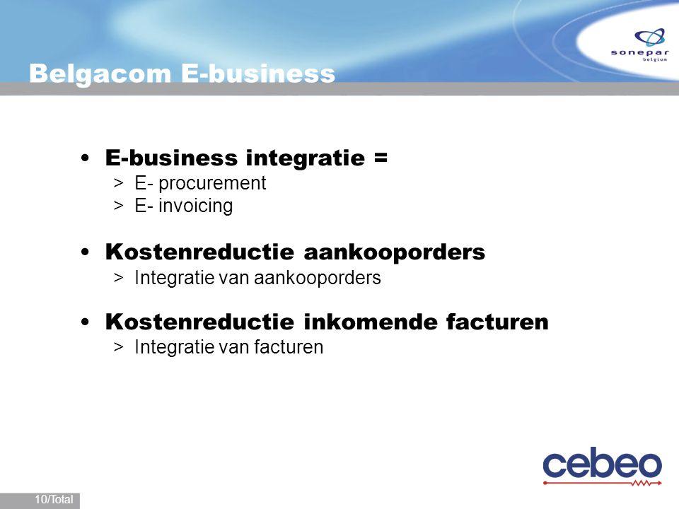 10/Total Belgacom E-business E-business integratie = >E- procurement >E- invoicing Kostenreductie aankooporders >Integratie van aankooporders Kostenre