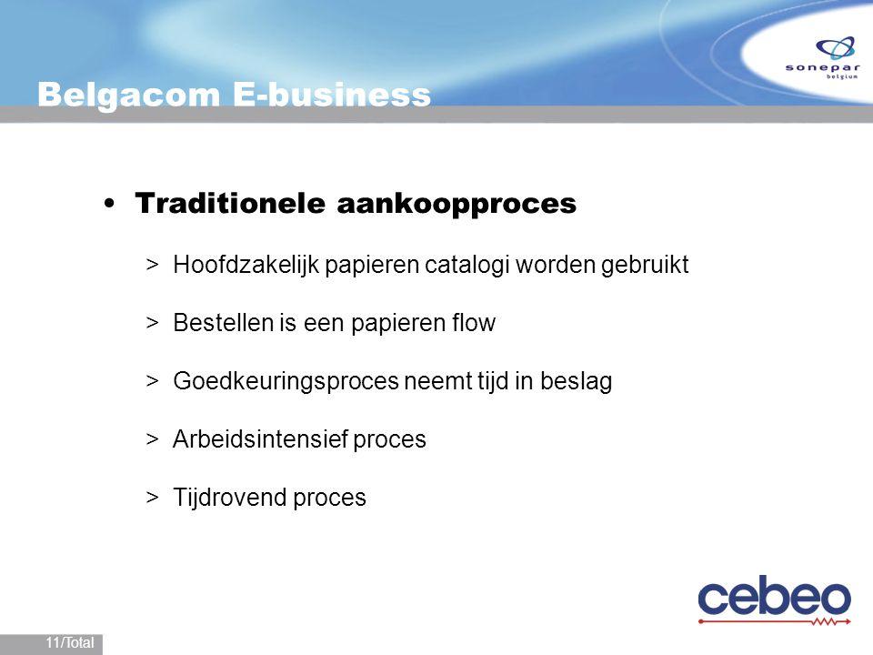 11/Total Belgacom E-business Traditionele aankoopproces >Hoofdzakelijk papieren catalogi worden gebruikt >Bestellen is een papieren flow >Goedkeurings