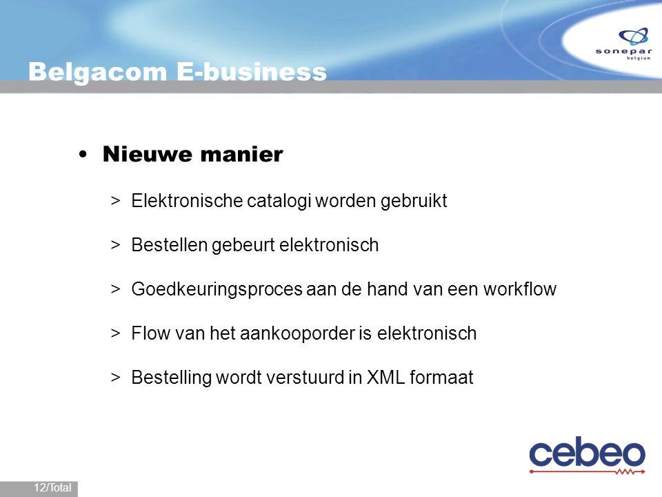 12/Total Belgacom E-business Nieuwe manier >Elektronische catalogi worden gebruikt >Bestellen gebeurt elektronisch >Goedkeuringsproces aan de hand van