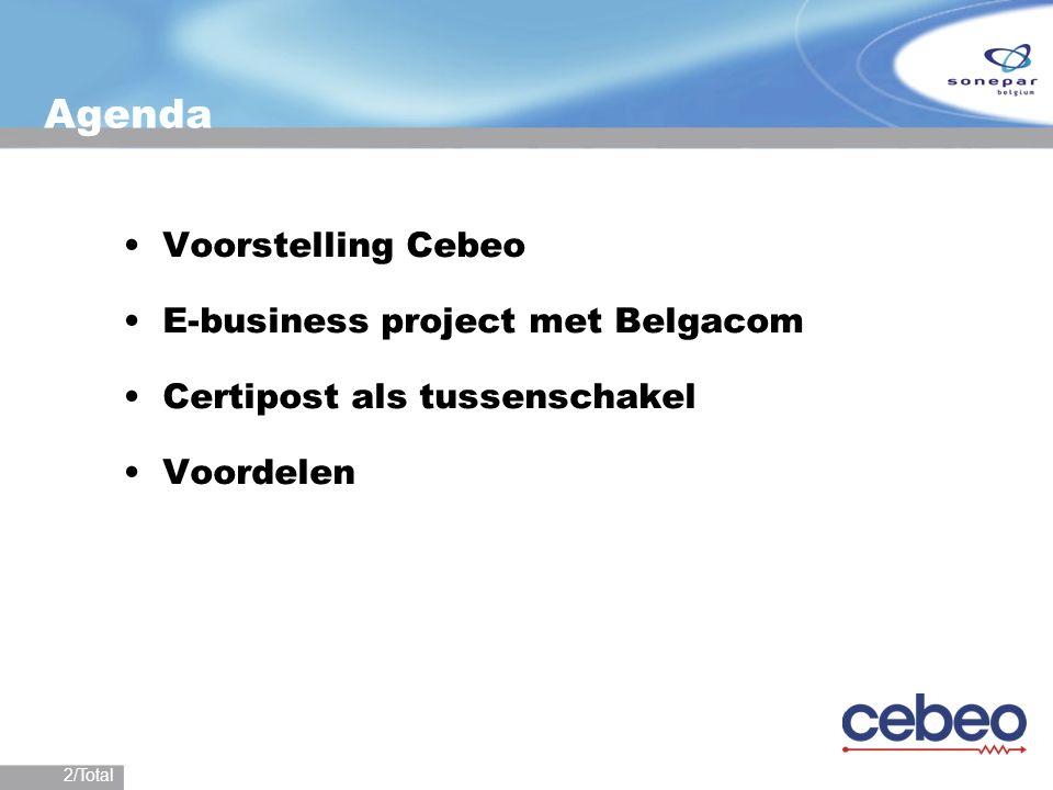 2/Total Agenda Voorstelling Cebeo E-business project met Belgacom Certipost als tussenschakel Voordelen