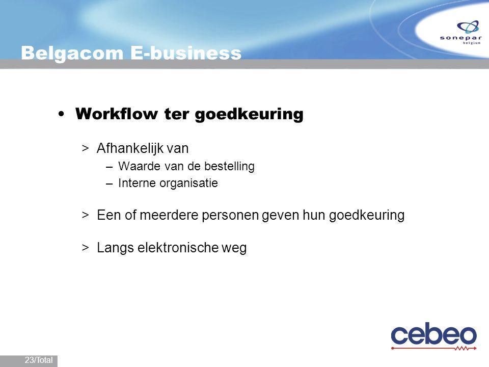 23/Total Belgacom E-business Workflow ter goedkeuring >Afhankelijk van –Waarde van de bestelling –Interne organisatie >Een of meerdere personen geven