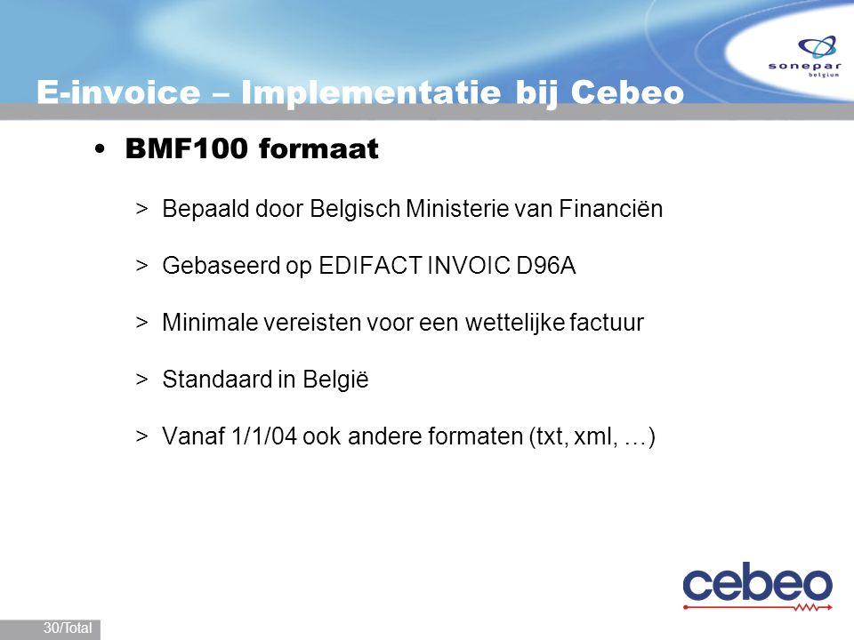 30/Total E-invoice – Implementatie bij Cebeo BMF100 formaat >Bepaald door Belgisch Ministerie van Financiën >Gebaseerd op EDIFACT INVOIC D96A >Minimal