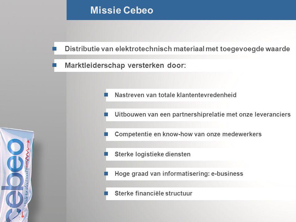 4/Total Missie Cebeo Distributie van elektrotechnisch materiaal met toegevoegde waarde Marktleiderschap versterken door: Nastreven van totale klantent