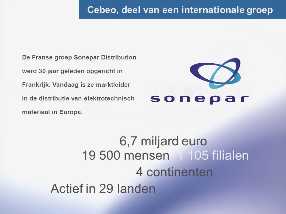 8/Total Cebeo, deel van een internationale groep De Franse groep Sonepar Distribution werd 30 jaar geleden opgericht in Frankrijk. Vandaag is ze markt