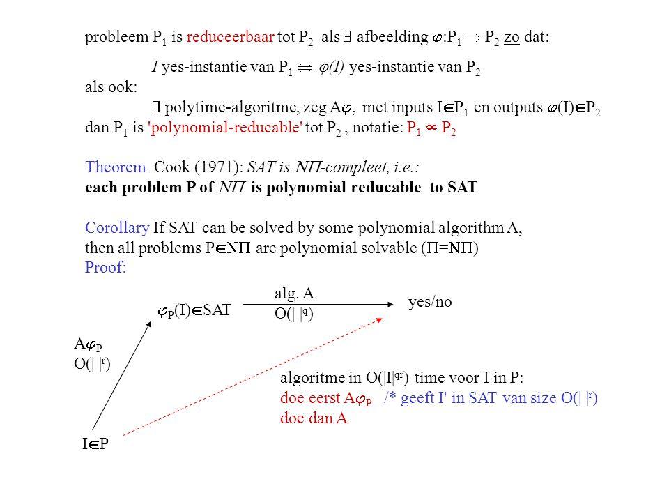 probleem P 1 is reduceerbaar tot P 2 als  afbeelding  :P 1  P 2 zo dat: I yes-instantie van P 1   (I) yes-instantie van P 2 als ook:  polytime-a