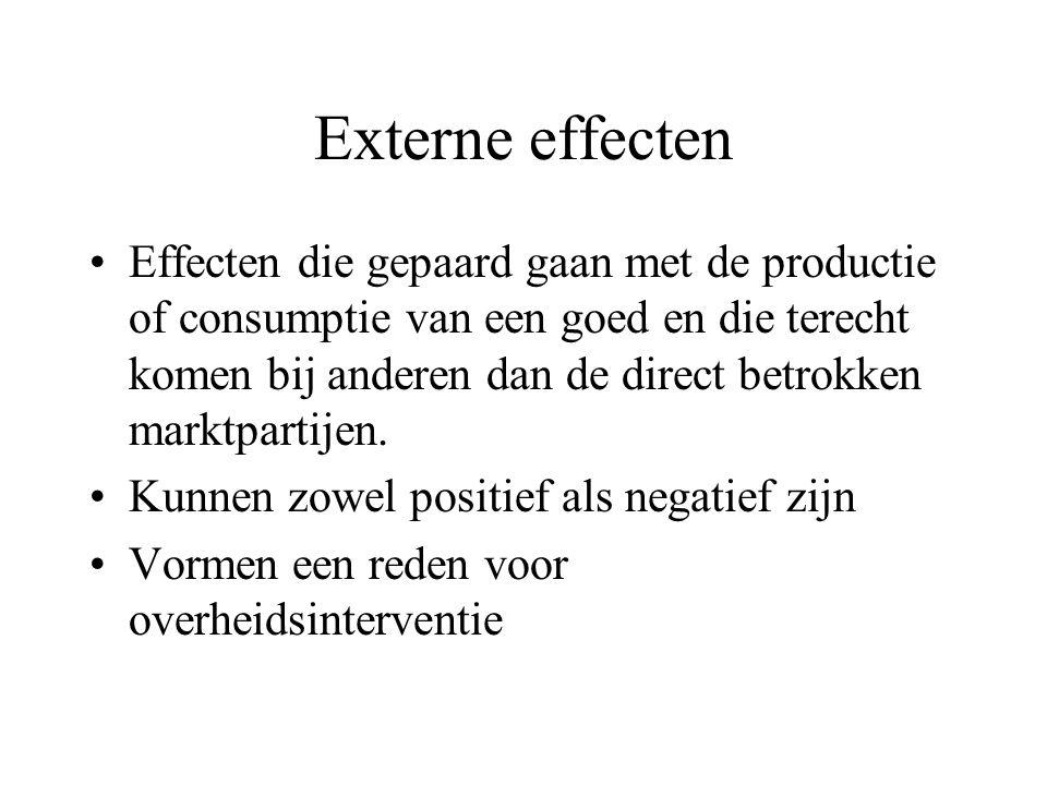 Externe effecten Effecten die gepaard gaan met de productie of consumptie van een goed en die terecht komen bij anderen dan de direct betrokken marktpartijen.