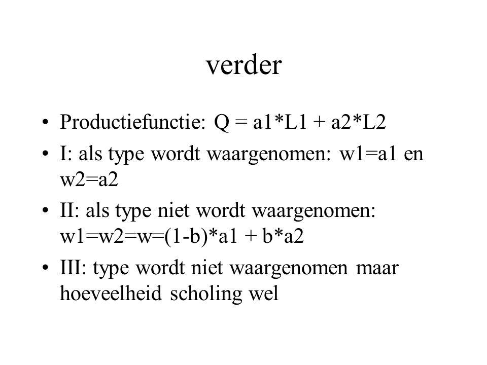 verder Productiefunctie: Q = a1*L1 + a2*L2 I: als type wordt waargenomen: w1=a1 en w2=a2 II: als type niet wordt waargenomen: w1=w2=w=(1-b)*a1 + b*a2 III: type wordt niet waargenomen maar hoeveelheid scholing wel