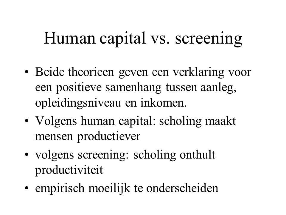Human capital vs. screening Beide theorieen geven een verklaring voor een positieve samenhang tussen aanleg, opleidingsniveau en inkomen. Volgens huma