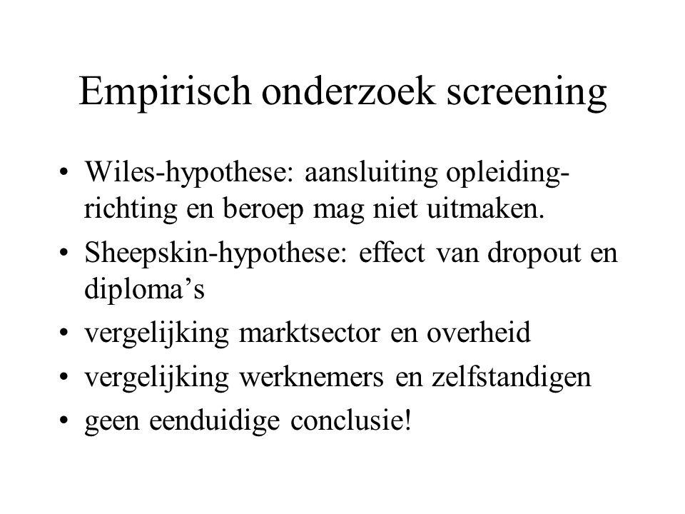 Empirisch onderzoek screening Wiles-hypothese: aansluiting opleiding- richting en beroep mag niet uitmaken. Sheepskin-hypothese: effect van dropout en