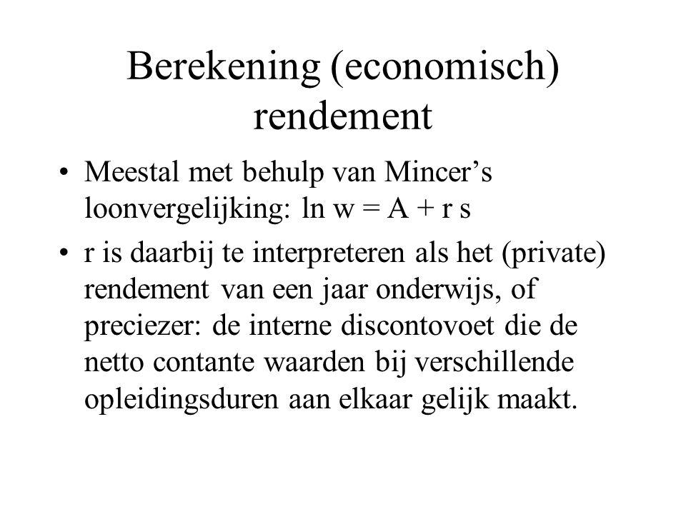 Berekening (economisch) rendement Meestal met behulp van Mincer's loonvergelijking: ln w = A + r s r is daarbij te interpreteren als het (private) ren