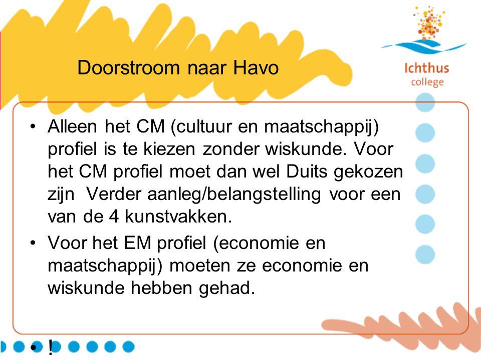 Doorstroom naar Havo Alleen het CM (cultuur en maatschappij) profiel is te kiezen zonder wiskunde. Voor het CM profiel moet dan wel Duits gekozen zijn