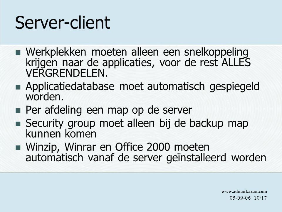 www.adnankazan.com 05-09-0610/17 Server-client Werkplekken moeten alleen een snelkoppeling krijgen naar de applicaties, voor de rest ALLES VERGRENDELEN.