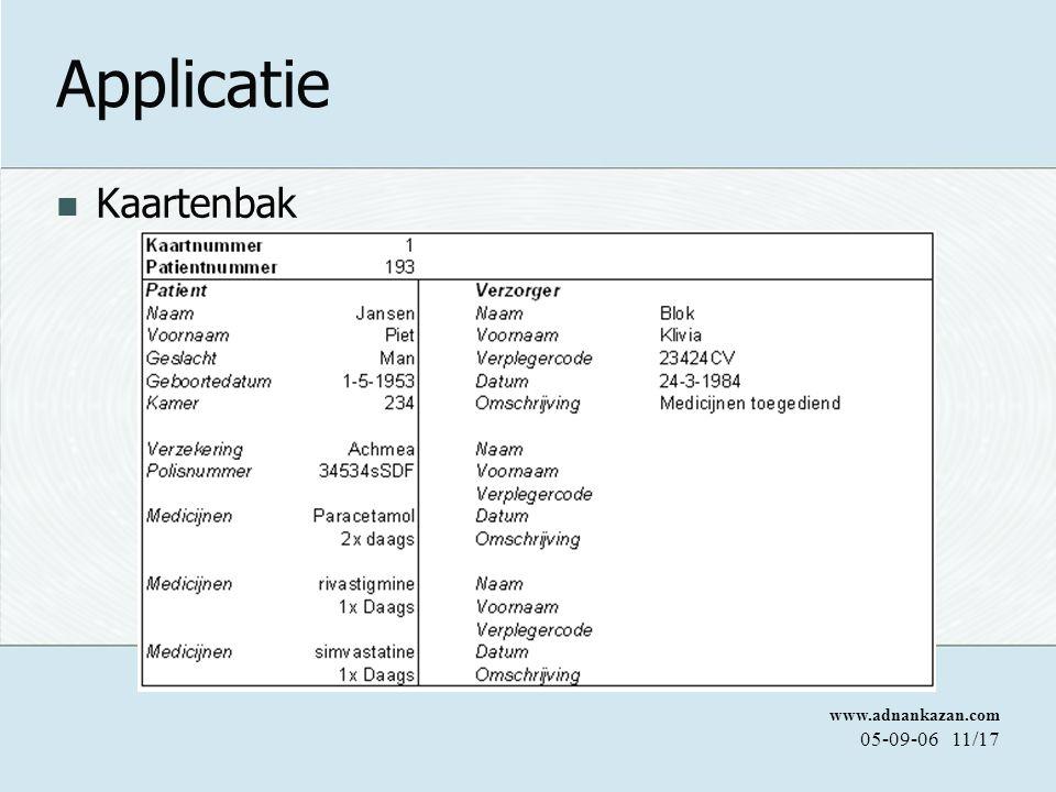 www.adnankazan.com 05-09-0611/17 Applicatie Kaartenbak