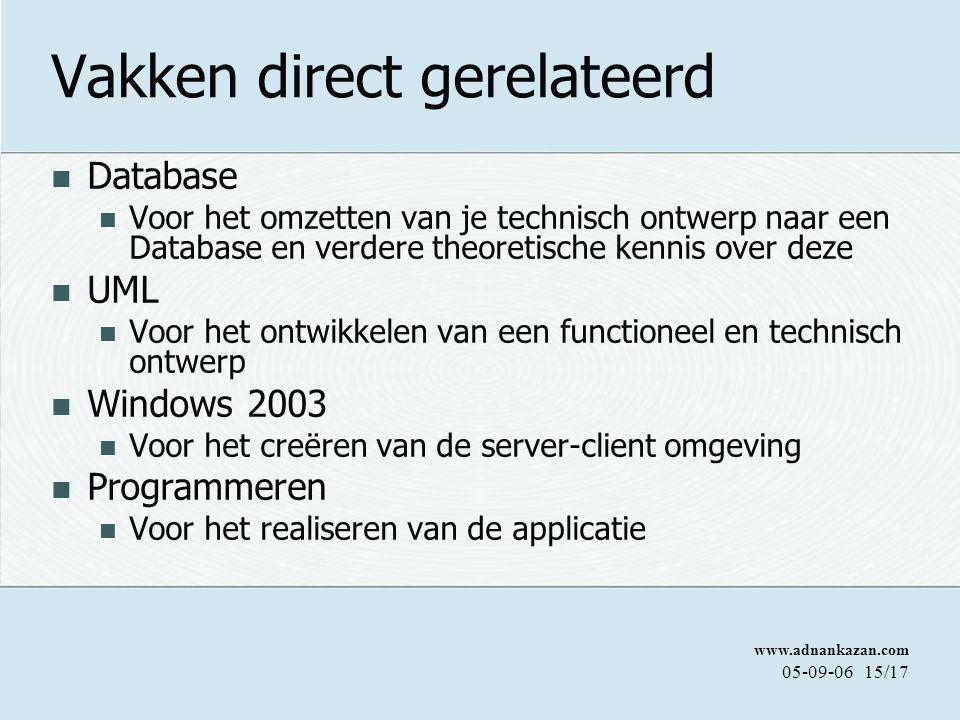 www.adnankazan.com 05-09-0615/17 Vakken direct gerelateerd Database Voor het omzetten van je technisch ontwerp naar een Database en verdere theoretische kennis over deze UML Voor het ontwikkelen van een functioneel en technisch ontwerp Windows 2003 Voor het creëren van de server-client omgeving Programmeren Voor het realiseren van de applicatie
