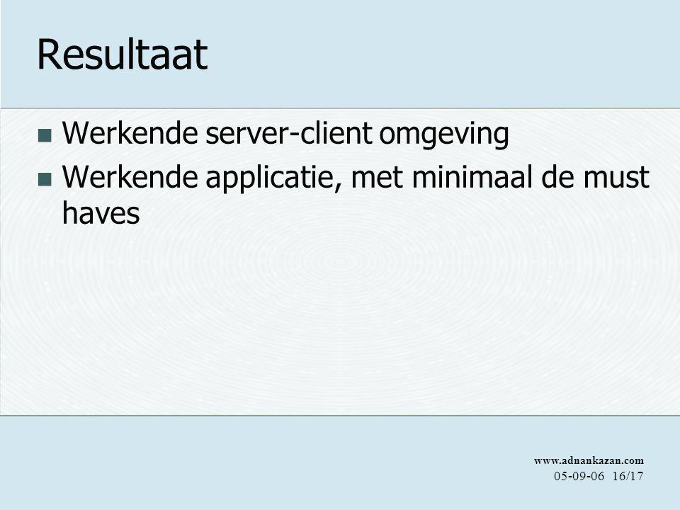 www.adnankazan.com 05-09-0616/17 Resultaat Werkende server-client omgeving Werkende applicatie, met minimaal de must haves