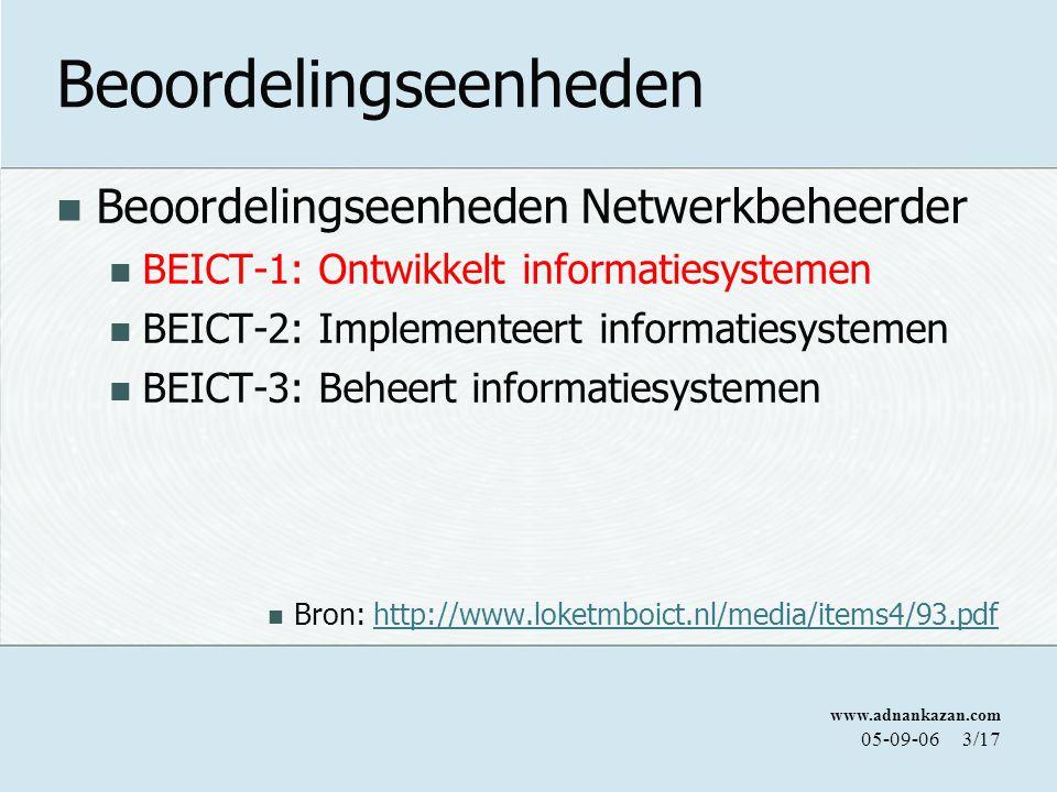 www.adnankazan.com 05-09-063/17 Beoordelingseenheden Beoordelingseenheden Netwerkbeheerder BEICT-1: Ontwikkelt informatiesystemen BEICT-2: Implementeert informatiesystemen BEICT-3: Beheert informatiesystemen Bron: http://www.loketmboict.nl/media/items4/93.pdfhttp://www.loketmboict.nl/media/items4/93.pdf
