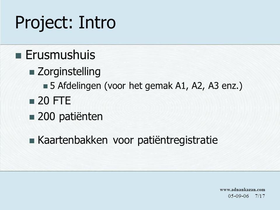 www.adnankazan.com 05-09-067/17 Project: Intro Erusmushuis Zorginstelling 5 Afdelingen (voor het gemak A1, A2, A3 enz.) 20 FTE 200 patiënten Kaartenbakken voor patiëntregistratie