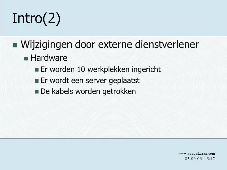 www.adnankazan.com 05-09-068/17 Intro(2) Wijzigingen door externe dienstverlener Hardware Er worden 10 werkplekken ingericht Er wordt een server geplaatst De kabels worden getrokken
