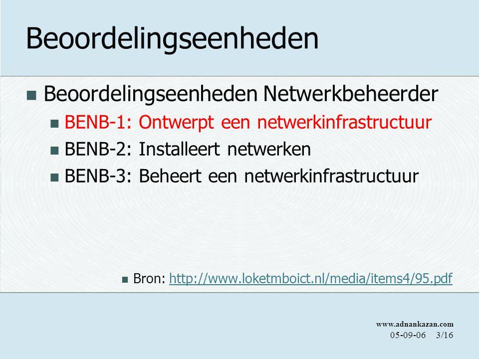 www.adnankazan.com 05-09-063/16 Beoordelingseenheden Beoordelingseenheden Netwerkbeheerder BENB-1: Ontwerpt een netwerkinfrastructuur BENB-2: Installeert netwerken BENB-3: Beheert een netwerkinfrastructuur Bron: http://www.loketmboict.nl/media/items4/95.pdfhttp://www.loketmboict.nl/media/items4/95.pdf