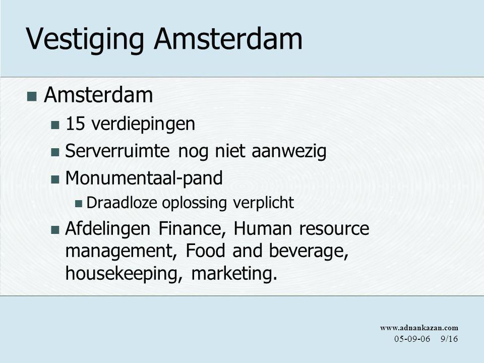 www.adnankazan.com 05-09-069/16 Vestiging Amsterdam Amsterdam 15 verdiepingen Serverruimte nog niet aanwezig Monumentaal-pand Draadloze oplossing verplicht Afdelingen Finance, Human resource management, Food and beverage, housekeeping, marketing.