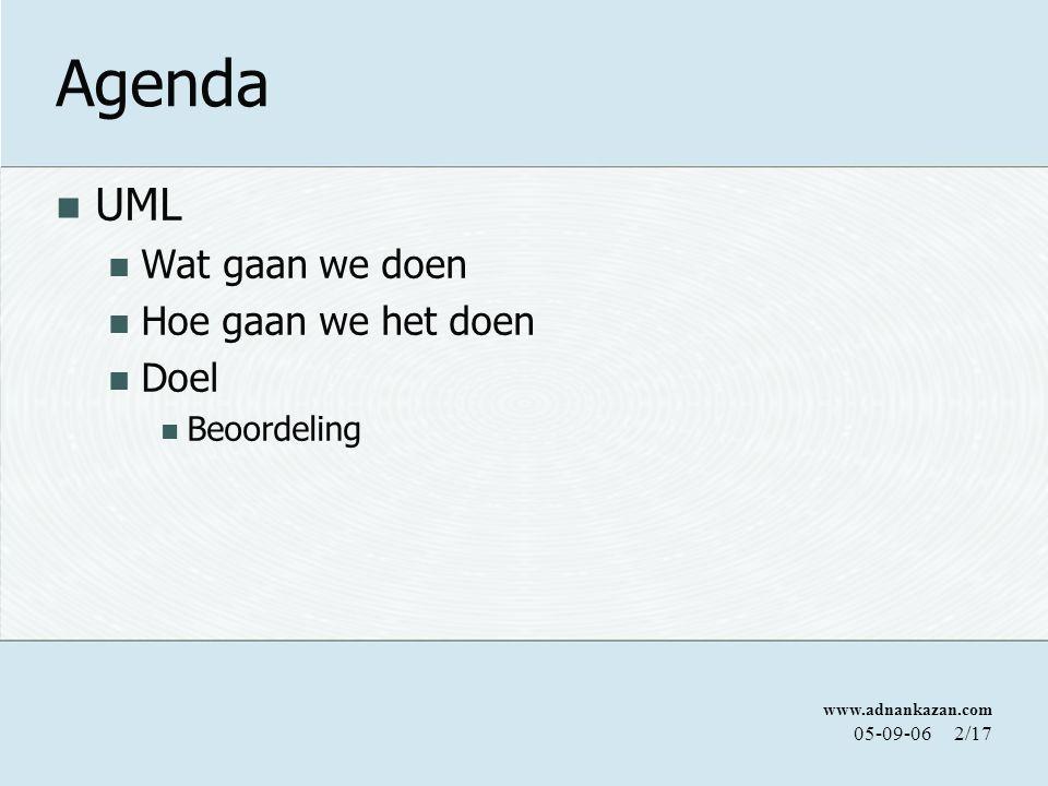 www.adnankazan.com 05-09-062/17 Agenda UML Wat gaan we doen Hoe gaan we het doen Doel Beoordeling
