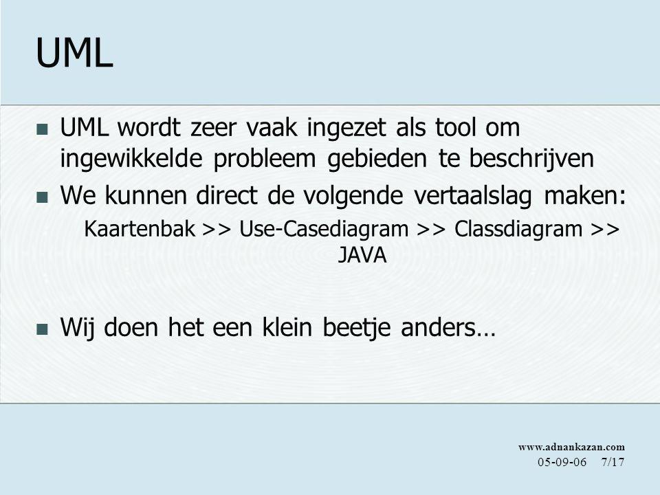 www.adnankazan.com 05-09-067/17 UML UML wordt zeer vaak ingezet als tool om ingewikkelde probleem gebieden te beschrijven We kunnen direct de volgende vertaalslag maken: Kaartenbak >> Use-Casediagram >> Classdiagram >> JAVA Wij doen het een klein beetje anders…
