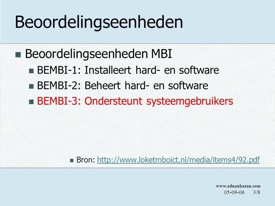 www.adnankazan.com 05-09-064/8 Beoordelingseenheid BEMBI-3: Ondersteunt systeemgebruikers C7: Gebruikers te instrueren Werking van een systeem mondeling toe te lichten aan gebruikers C8: Informatieverzoeken af te handelen Vragen accuraat en snel beantwoorden, gebruik makend van documentatie enz.