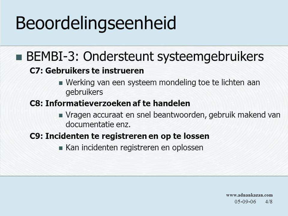 www.adnankazan.com 05-09-064/8 Beoordelingseenheid BEMBI-3: Ondersteunt systeemgebruikers C7: Gebruikers te instrueren Werking van een systeem mondeli