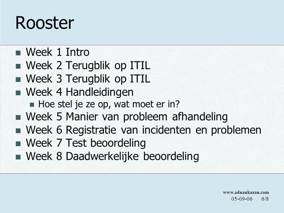 www.adnankazan.com 05-09-066/8 Rooster Week 1 Intro Week 2 Terugblik op ITIL Week 3 Terugblik op ITIL Week 4 Handleidingen Hoe stel je ze op, wat moet