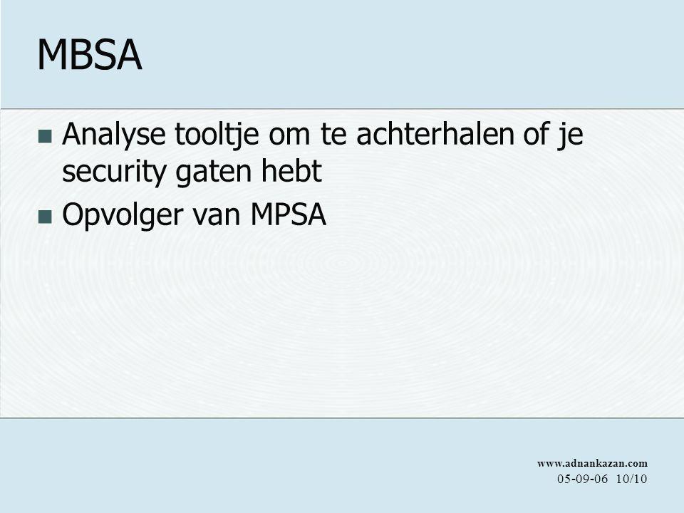 www.adnankazan.com 05-09-0610/10 MBSA Analyse tooltje om te achterhalen of je security gaten hebt Opvolger van MPSA