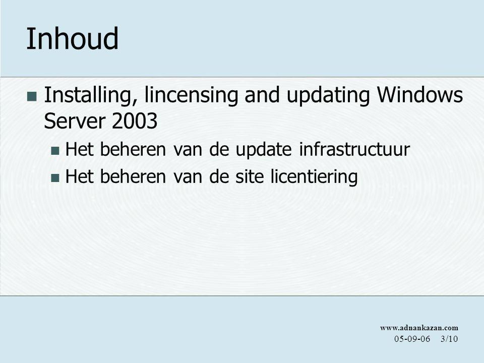 www.adnankazan.com 05-09-063/10 Inhoud Installing, lincensing and updating Windows Server 2003 Het beheren van de update infrastructuur Het beheren van de site licentiering