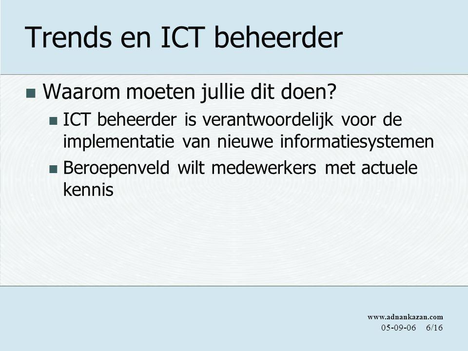 www.adnankazan.com 05-09-066/16 Trends en ICT beheerder Waarom moeten jullie dit doen? ICT beheerder is verantwoordelijk voor de implementatie van nie