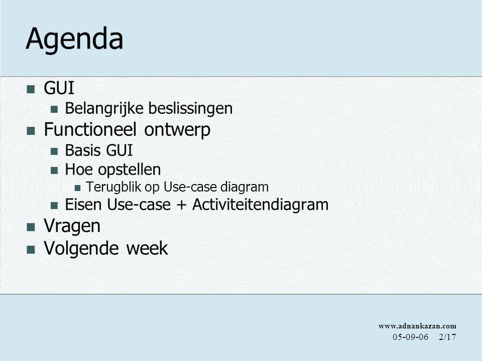 www.adnankazan.com 05-09-062/17 Agenda GUI Belangrijke beslissingen Functioneel ontwerp Basis GUI Hoe opstellen Terugblik op Use-case diagram Eisen Us