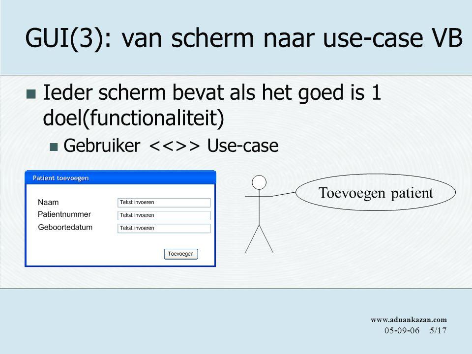 www.adnankazan.com 05-09-066/17 GUI(3): van scherm naar use-case VB Voor het bereiken van die ene doel moeten een aantal andere zaken gebeuren( naam geslacht en datum invoeren..) Use-case > Use-case of Use-case >Use-Case Toevoegen patient Invoeren naam Invoeren patientnummer Invoeren geboortedatum