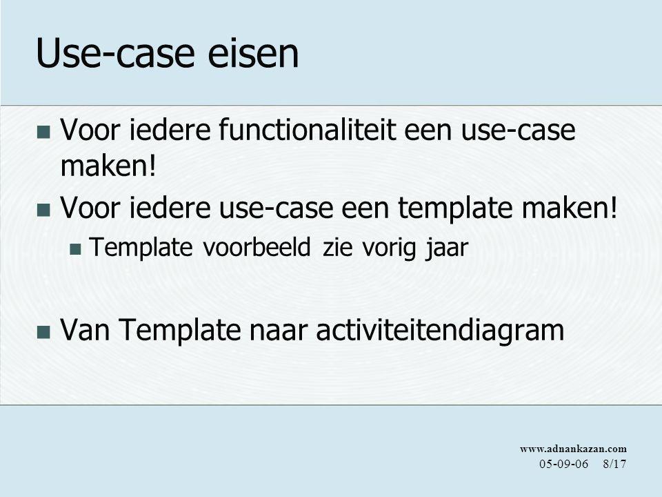 www.adnankazan.com 05-09-068/17 Use-case eisen Voor iedere functionaliteit een use-case maken! Voor iedere use-case een template maken! Template voorb