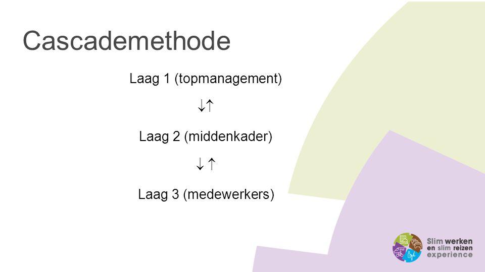 Cascademethode Laag 1 (topmanagement)  Laag 2 (middenkader)   Laag 3 (medewerkers)